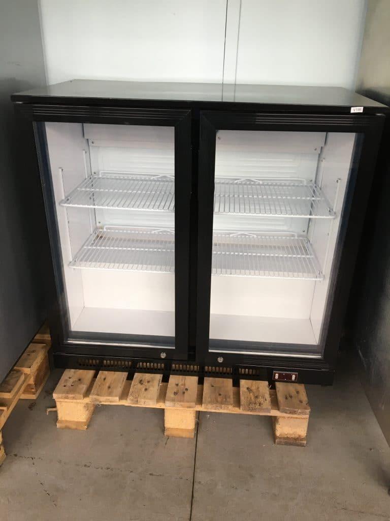 Vægkøleskab dobbelt, sort, punkteret rude